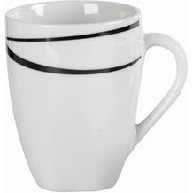 Mäser Oslo, Kaffeebecher 6er-Set, große Tassen, klassisch, zeitlos, elegant, Porzellan, schwarz-weiß