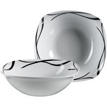 Mäser Oslo, Obstschale oder Salatschüssel 2er-Set, klassisch, zeitlos, elegant, Porzellan, schwarz-weiß