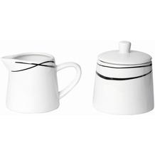 Mäser Oslo, Zuckerdose und Milchkännchen Set, klassisch, zeitlos, elegant, Porzellan, schwarz-weiß