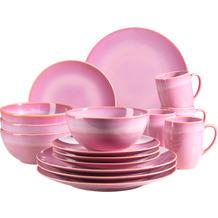 Mäser Ossia Kombiservice, Geschirr-Set im mediterranen Vintage-Look, 16-teiliges Kombiservice in Amaranth Pink, Keramik