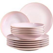 Mäser Ossia Tafelservice, Teller-Set im mediterranen Vintage-Look, 12-teiliges modernes Tafelservice in Rosa, Keramik
