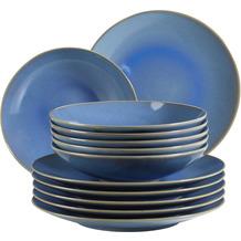 Mäser Ossia Tafelservice Teller-Set im mediterranen Vintage-Look, 12-teiliges modernes Tafelservice in Hellblau Keramik