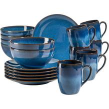 Mäser Ossia Vintage Frühstücksservice aus Keramik für 6 Personen 18-teilig blau
