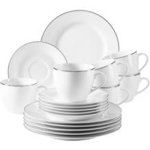 Mäser Professional Dining Kaffeeservice für 6 Personen 18-teilig weiß, silber