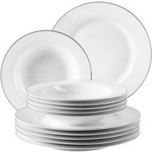Mäser Professional Dining Tafelservice für 6 Personen 12-teilig weiß, silber