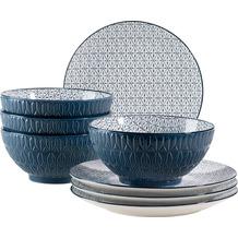 Mäser Telde, Müslischalen und Frühstücksteller Set für 4 Personen in Gastronomiequalität, Blau