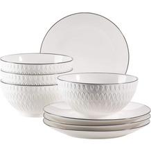 Mäser Telde, Müslischalen und Frühstücksteller Set für 4 Personen in Gastronomiequalität, weiß