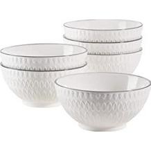 Mäser Telde, Müslischalen Set in Gastronomiequalität, 6 Schalen mit hübscher Relief-Oberfläche, Weiß