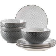 Mäser Telde, Müslischalen und Frühstücksteller Set für 4 Personen in Gastronomiequalität, Grau
