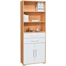 MAJA Möbel Aktenregal Buche - weiß Hochglanz 800 x 2144 x 400 mm