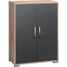 MAJA Möbel Aktenregal Sonoma-Eiche - grau Hochglanz 800 x 1097 x 400 mm