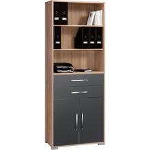 MAJA Möbel Aktenregal Sonoma-Eiche - grau Hochglanz 800 x 2144 x 400 mm
