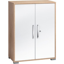 MAJA Möbel Aktenregal SYSTEM SETS Sonoma-Eiche - weiß Hochglanz 80 x 109,7 x 40 cm