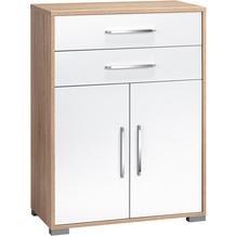MAJA Möbel Aktenregal Sonoma-Eiche - weiß Hochglanz, 2 Schubladen, 2 Türen 800 x 1097 x 400 mm
