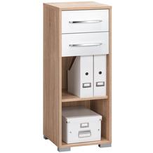 MAJA Möbel Aktenregal System Sets Sonoma-Eiche weiß Hochglanz 42,1 x 109,7 x 40 cm