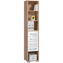 MAJA Möbel Aktenregal System Sets Sonoma-Eiche weiß Hochglanz 42,1 x 214,4 x 40 cm