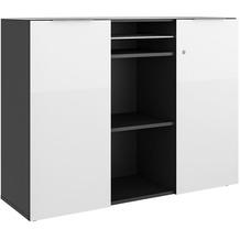 MAJA Möbel Aktenschrank mit Glastop Trendo anthrazit Weißglas Typ II