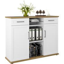 MAJA Möbel Aktenschrank Villo Office weiß matt - Asteiche 134,7 x 104,9 x 43,5 cm
