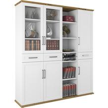 MAJA Möbel Aktenschrank Villo Office Glastüren weiß matt - Asteiche 179,8 x 202,1 x 43,5 cm