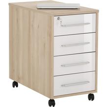 MAJA Möbel Anstell-Rollcontainer SYSTEM Edelbuche - weiß Hochglanz 43 x 75 x 80 cm