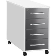 MAJA Möbel Anstell-Rollcontainer SYSTEM Icy-weiß - grau Hochglanz 43 x 75 x 80 cm