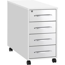 MAJA Möbel Anstell-Rollcontainer SYSTEM Icy-weiß - weiß Hochglanz 43 x 75 x 80 cm