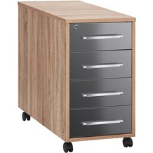 MAJA Möbel Anstell-Rollcontainer SYSTEM Sonoma-Eiche - grau Hochglanz 43 x 75 x 80 cm