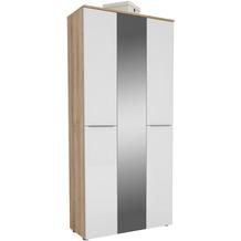 MAJA Möbel Garderobenschrank mit Holztop Trend Riviera Eiche Weißglas Typ II