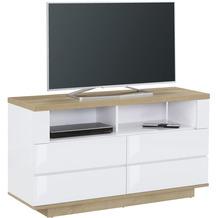MAJA Möbel Lowboard Media Modelle Holz Riviera Eiche weiß Hochglanz hoch