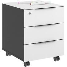MAJA Möbel Rollcontainer mit Glastop Trendo anthrazit Weißglas 45,1 x 55,7 x 50 cm