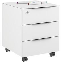 MAJA Möbel Rollcontainer mit Glastop Trendo weiß matt Weißglas 45,1 x 55,7 x 50 cm