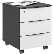 MAJA Möbel Rollcontainer mit Holztop Trendo anthrazit Weißglas 45,1 x 56,8 x 50 cm