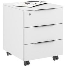 MAJA Möbel Rollcontainer mit Holztop Trendo weiß matt Weißglas 45,1 x 56,8 x 50 cm