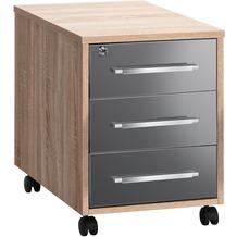 MAJA Möbel Rollcontainer SYSTEM Sonoma-Eiche - grau Hochglanz 43 x 59 x 65 cm