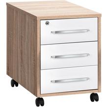 MAJA Möbel Rollcontainer SYSTEM Sonoma-Eiche - weiß Hochglanz 43 x 59 x 65 cm