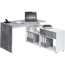 MAJA Möbel Schreib- und Computertisch OFFICE EINZELMODELLE betonoptik - Icy-weiß 137 x 74,2 x 130 cm