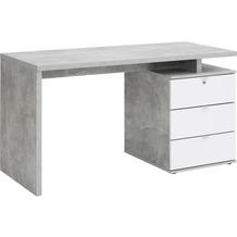 MAJA Möbel Schreib- und Computertisch betonoptik - weiß Hochglanz 1400 x 750 x 600 mm
