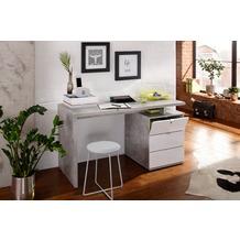 MAJA Möbel Schreib- und Computertisch OFFICE EINZELMODELLE betonoptik - weiß Hochglanz 140 x 75 x 60 cm