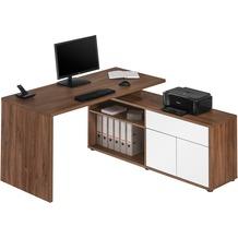 MAJA Möbel Schreib- und Computertisch Eiche dunkel - weiß Hochglanz 1530 x 750 x 1490 mm
