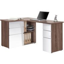 MAJA Möbel Schreib- und Computertisch OFFICE EINZELMODELLE Eiche Trüffel sägerau - weiß Hochglanz 145 x 76,6 x 101,5 cm