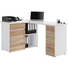 MAJA Möbel Schreib- und Computertisch OFFICE EINZELMODELLE Icy-weiß - Sonoma-Eiche 145 x 76,6 x 101,5 cm