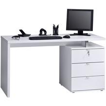MAJA Möbel Schreib- und Computertisch OFFICE EINZELMODELLE Icy-weiß - weiß Hochglanz 140 x 75 x 60 cm