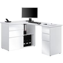 MAJA Möbel Schreib- und Computertisch OFFICE EINZELMODELLE Icy-weiß - weiß Hochglanz 145 x 76,6 x 101,5 cm