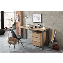 MAJA Möbel Schreib- und Computertisch OFFICE EINZELMODELLE Metall anthrazit - Riviera Eiche 140 x 74,6 x 65 cm