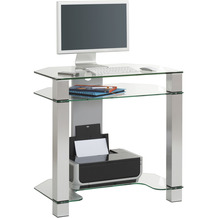 MAJA Möbel Schreib- und Computertisch Office Metall Alu Klarglas