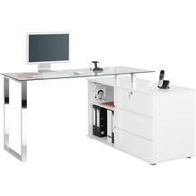 MAJA Möbel Schreib- und Computertisch Office Metall Chrom weiß Hochglanz