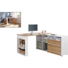 MAJA Möbel Schreib- und Computertisch Office weiß matt Riviera Eiche