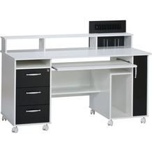 MAJA Möbel Schreib- und Computertisch OFFICE EINZELMODELLE weiß uni - schwarz 141,1 x 104,4 x 67 cm