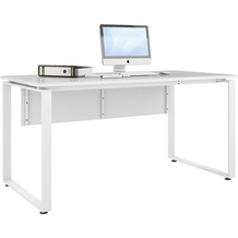 MAJA Möbel Schreibtisch mit Glasplatte Trendo weiß matt Weißglas Typ II