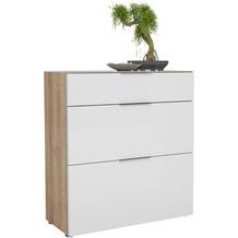 MAJA Möbel Schuhschrank mit Glastop TREND GARDEROBE Riviera Eiche - Weißglas 90,2 x 98,7 x 40 cm